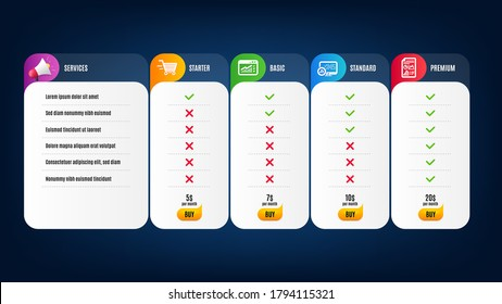 Report statistics, Web traffic and Report document icons simple set. Price list, pricing table. Delivery shopping sign. Graph chart, Website window, Growth chart. Online buying. Finance set. Vector