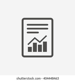 Report text file icon. Document with chart symbol. Accounting sign. Flat icon on white background. Vector