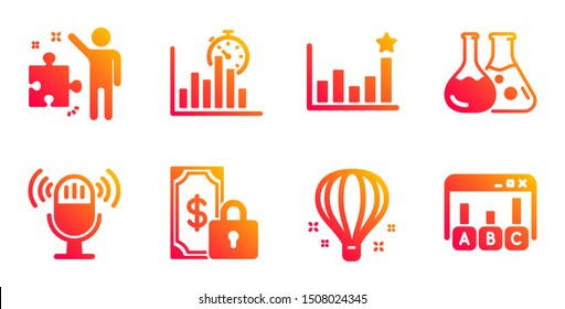 Report timer, Air balloon and Strategy line icons set. Efficacy, Private payment and Microphone signs. Chemistry lab, Survey results symbols. Growth chart, Sky travelling. Education set. Vector