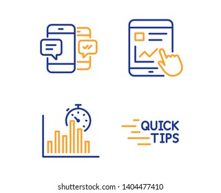 Report timer, Smartphone sms and Internet report icons simple set. Education sign. Growth chart, Mobile messages, Web tutorial. Quick tips. Education set. Linear report timer icon. Colorful design set
