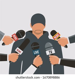 reporter celebrity male or journalist man speak on live stream in the media breaking news. trainer or coach vector in press conference & review with microphones. famous character infected Corona virus