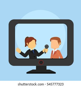 reporter interviewing businessman on tv