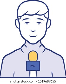 Reporter man blue color icon. TV presenter, interviewer with microphone. TV host. Journalist taking interview. Newscaster reporting breaking news. Television announcer. Isolated vector illustration