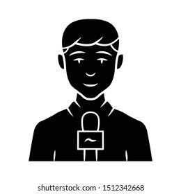 Reporter man glyph icon. TV presenter, interviewer with microphone. TV host. Newscaster reporting breaking news. Television announcer. Silhouette symbol. Negative space. Vector isolated illustration