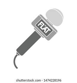 reporter microphone icon. flat illustration of reporter microphone vector icon. reporter microphone sign symbol