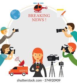Reporter, Photographer, Cameraman, News, Frame, Press, Journalism, Live, Mass Media, Broadcasting