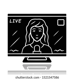 Reporter woman on TV drop shadow black glyph icon. Female journalist reporting breaking news live. Newscast. Newswoman on TV screen. Isolated vector illustration