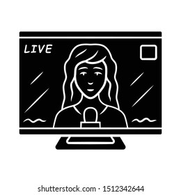 Reporter woman on TV glyph icon. Female journalist reporting breaking news live. Newscast. Newswoman on TV screen. Silhouette symbol. Negative space. Vector isolated illustration
