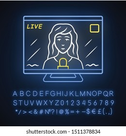 Reporter woman on TV neon light icon. Female journalist reporting breaking news live. Newscast. Newswoman on TV screen. Glowing sign with alphabet, numbers and symbols. Vector isolated illustration