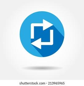 Repost button repost logo retweet icon flat Vector illustration eps 10