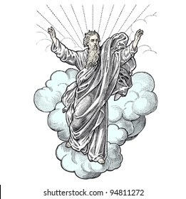 """A Representation of God in the sky - vintage engraved illustration - """"Petite Bible Scolaire"""" ed. Bloud & Gay - 1922 Paris"""