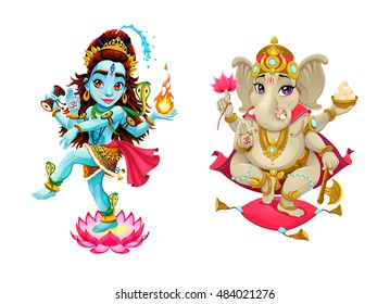 Representation of hindu gods Shiva and Ganesha. Vector cartoon isolated characters.