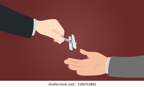 Representation of militarization of countries. Government help other governments in military power. Hand giving a jet plane.