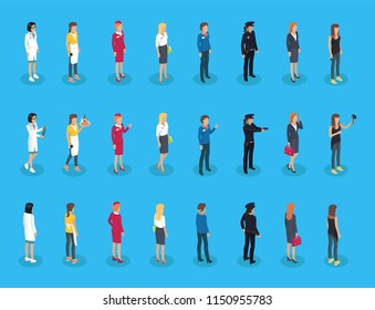 Representatives of professions, professional women doctor and waitress, stewardess and businesswoman, policewoman and manager, photographer isolated