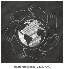Representatives of the seven continents Globe surrounded by hands, hand-drawn on a blackboard in vector format.