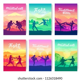 Representatives of traditional fighters from all over the world  brochure cards set. Fighting style battle nature template of flyear, magazines, poster, books,  invitation banners. Layout modern
