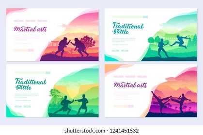 Representatives of traditional fighters from all over the world  brochure cards set. Fighting style battle nature template of  flyear, web banner, ui header, enter site. Layout modern slider page