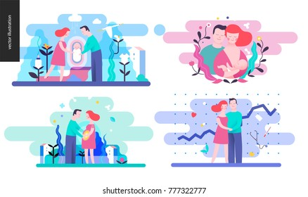 Reproduction - set of vector illustrations on conception, pregnancy, childbirth and breast feeding