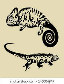 Reptile Animals, Chameleon and Iguana Curl Decorations. Nice, smooth and detail vector. Good use for your symbol, icon, sticker design, or any design you want. Easy to use and change color.