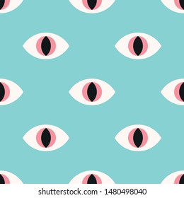 Reptile eyes seamless pattern on a mint background. Vector Illustration
