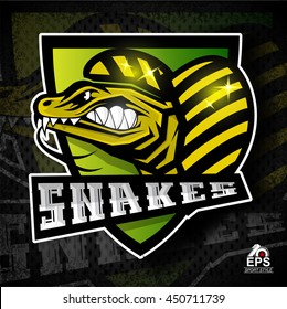 Reptile face in profile with bared teeth. Logo for any sport team snakes