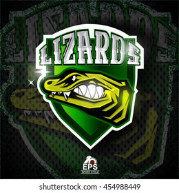 Reptile face in profile with bared teeth. Logo for any sport team lizards