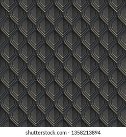 Reptile or fish scales. Black lamellar armour with blue and pale glares. Vector seamless pattern