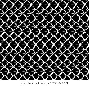 Reptile fish skin vector seamless black and white