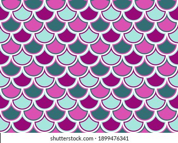 Reptile scales abstract vector seamless ornament. Art scallop texture. Snakeskin vivid background. Nautical fabric print. Hemicycle lizard squama ornament.