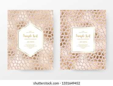 Reptile skin print card templates with gold texture.