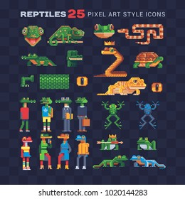 Reptile tropical animal pixel art 80s style flat icons. Design for stickers, logo, embroidery and mobile app. Video game assets sprite sheet. Anthropomorphic design. Isolated vector illustration.