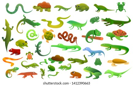 Reptiles amphibians icons set. Cartoon set of reptiles amphibians vector icons for web design