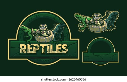 Reptiles mascot logo design isolated on dark green background with crack stone frame