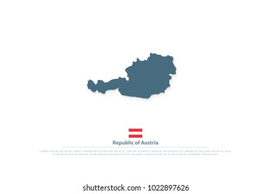 Republic of Austria isolated map and official flag icons. vector Austrian political map logotype. European country geographic banner template