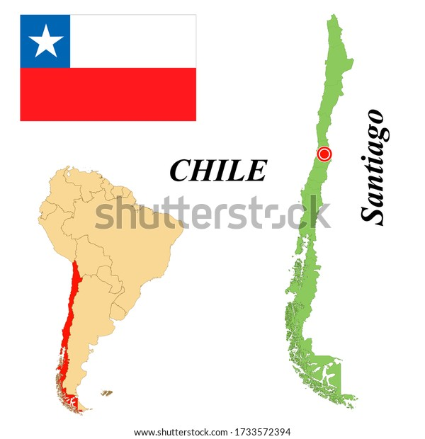 Republic Chile Capital Santiago Flag Chile Stock Vector Royalty Free 1733572394