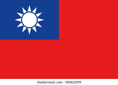 Republic of China flag vector, taiwan
