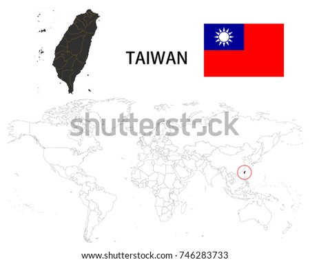 Republic China Taiwan Map On World Map Stock Vector Royalty Free