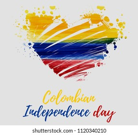 Republic of Colombia abstract brushed watercolor grunge flag in heart shape.  Colombia Independence day holiday background. Template for national holidays poster, banner, invitation, etc.