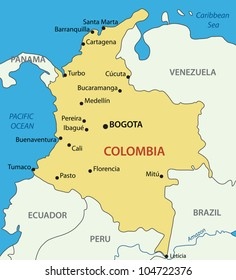 Republic of Colombia - vector map