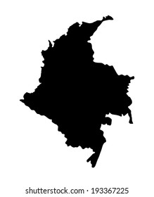 Republic of Colombia vector map silhouette isolated on white background. High detailed silhouette illustration. State in South America.