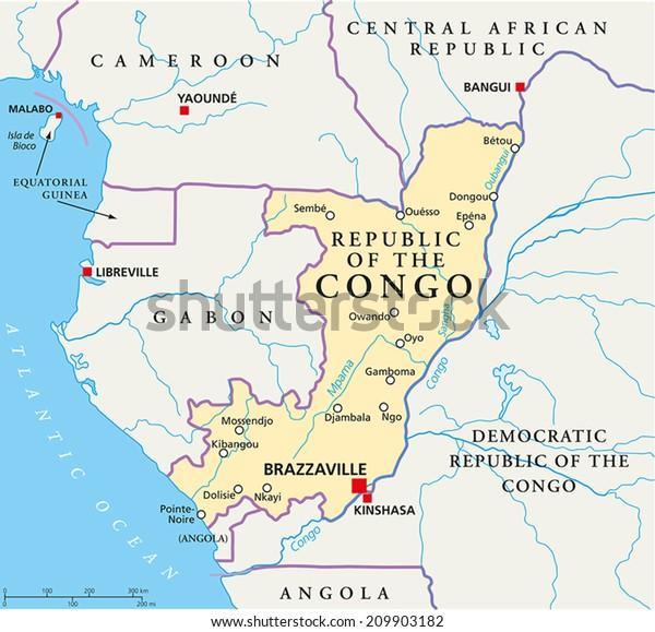 Republic Congo Political Map Capital Brazzaville Stock