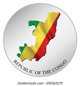 Republic of the Congo Vector Sticker With Flag and Map. Label, Round Tag With Country Name.