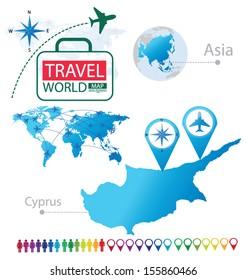 Republic of Cyprus. Asia. World Map. Travel vector Illustration.