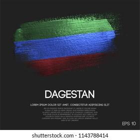 Republic of Dagestan Flag Made of Glitter Sparkle Brush Paint Vector