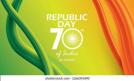 Republic Day of India background design banner or poster. 26 th January vector illustration
