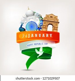 Republic Day India Celebration on 26 January with background