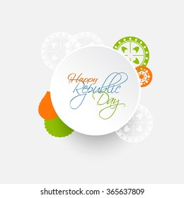 Republic day india illustration or greeting design with Asoka wheel.