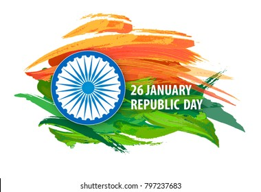 Republic Day of India. Vector banner, greeting, lettering, background.
