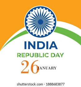 republic day indian with green color word holiday concept