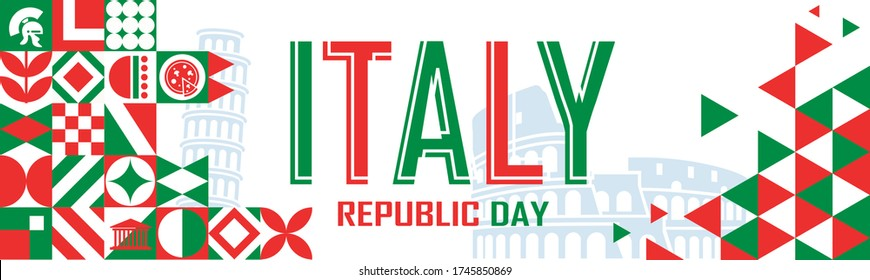 Republic day of Italy or Italia banner with geometric cultural icons and italian flag color scheme. Landmarks like Pisa tower and Rome Colosseum in background. 2 June celebration. Red Green White